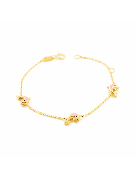 9ct Yellow Gold Baby pink enameled dolphins Bracelet
