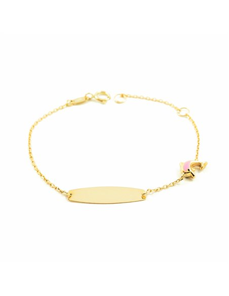 9ct Yellow Gold Baby pink enameled Dolphin Bracelet