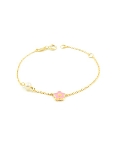 9ct Yellow Gold Baby charm pink enameled flower and pearl Bracelet