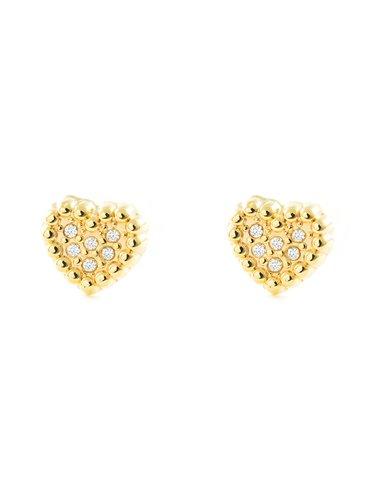 9ct Yellow Gold heart with zircon Children's Earrings