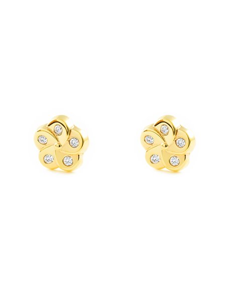9ct Yellow Gold flower with zirconia Children's Earrings