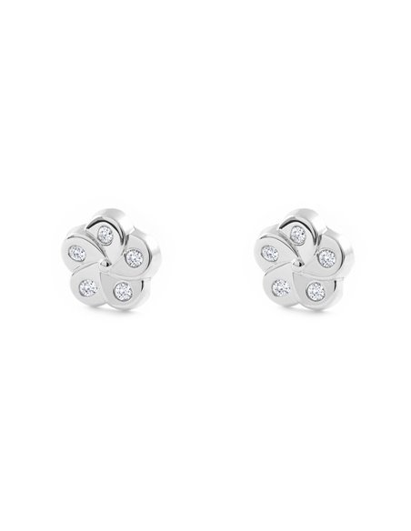 9ct White Gold flower with zirconia Baby Earrings