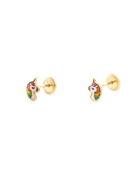 Boucles d'Oreilles Enfant émaille Licorne Or Jaune 9 Carats