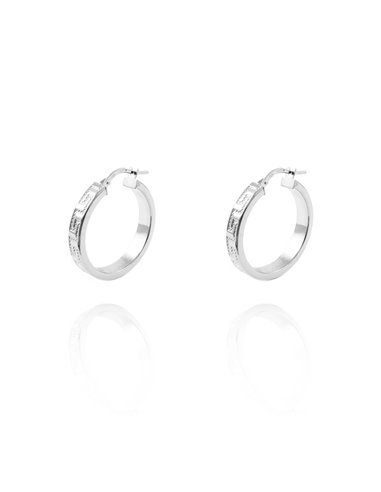 18ct White Gold hoop Earrings 23x4 mm