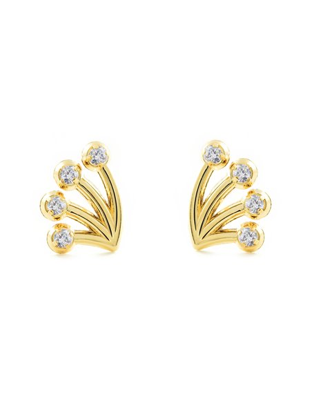 9ct Yellow Gold branch with zircon Children's Earrings