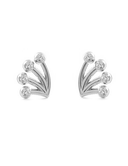 9ct White Gold branch with zircon Children's Earrings