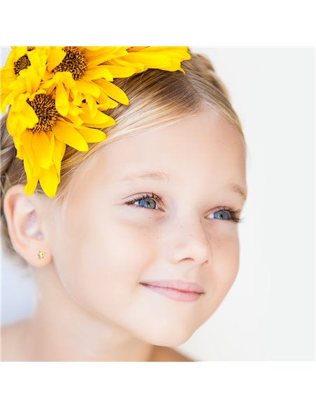 9ct Yellow Gold Children's Star with zircon Earrings