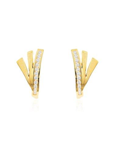 9ct Yellow Gold bands with zirconia Children's Earrings