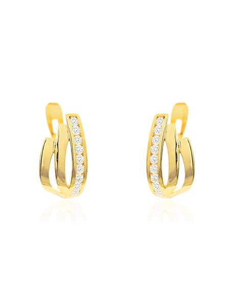 9ct Yellow Gold bands with zirconia Children's Earrings