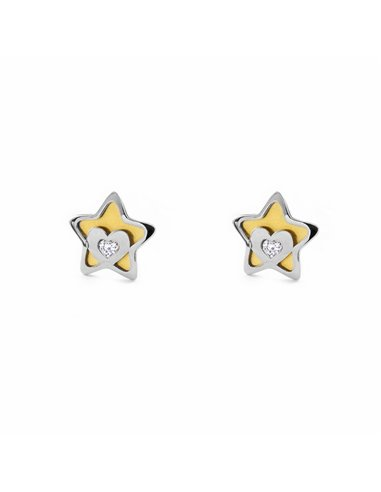 9ct 2 Colour Gold Star with heart and zircon Children's Earrings