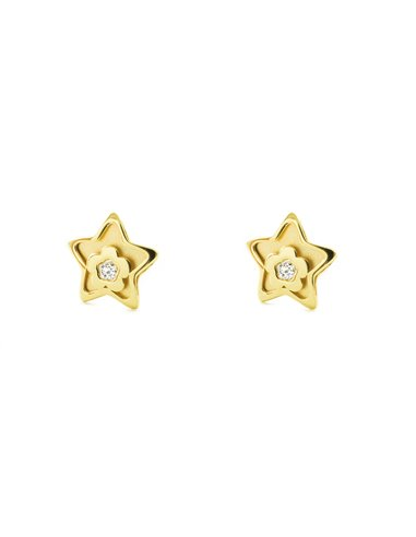 9ct Yellow Gold Star with heart and zircon Children's Earrings