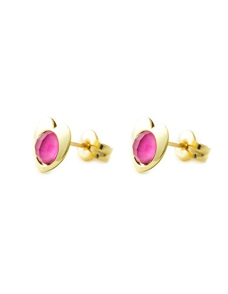 9ct Yellow Gold heart with pink briolet Children's Earrings