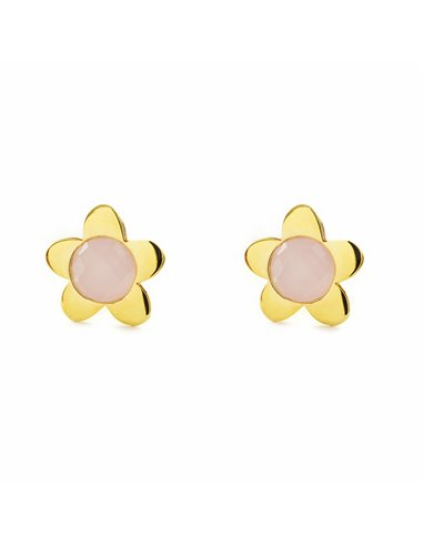 9ct Yellow Gold Daisy flower with pink briolet Children's Earrings