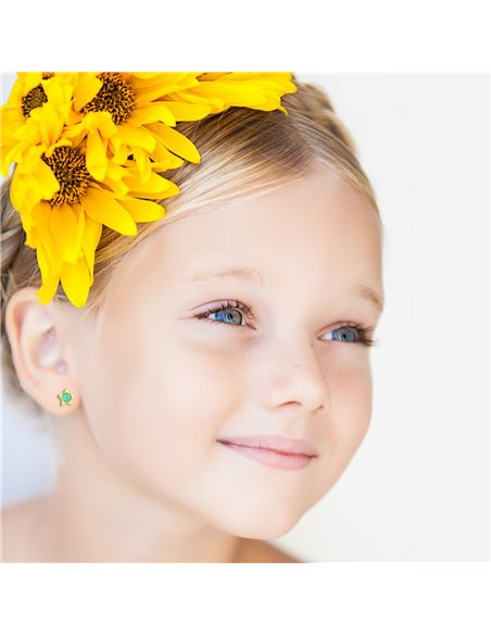 9ct Yellow Gold Daisy star with green briolet Children's Earrings