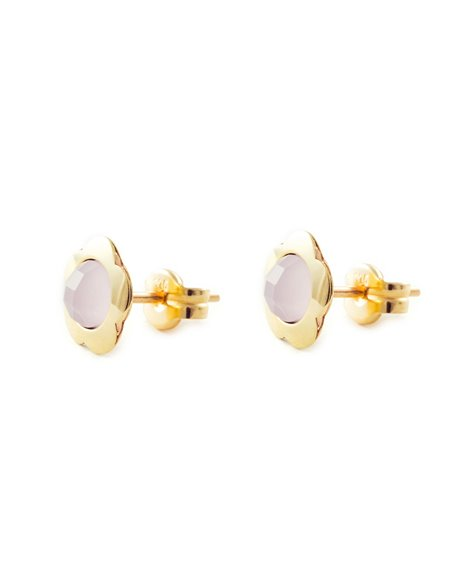 9ct Yellow Gold flower with pink briolet Children's Earrings