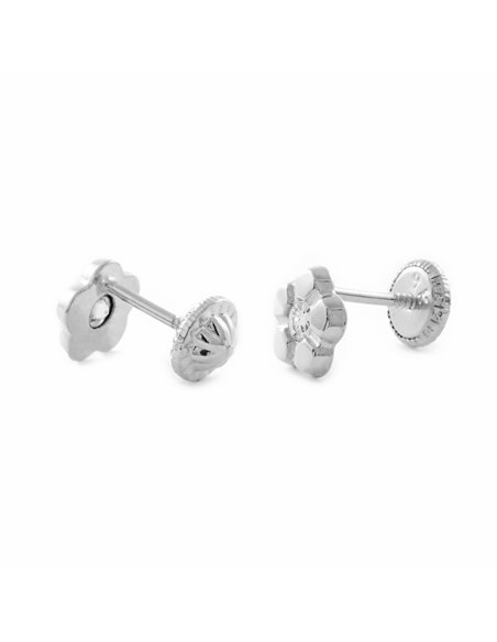9ct White Gold flower with zirconia children´s Earrings