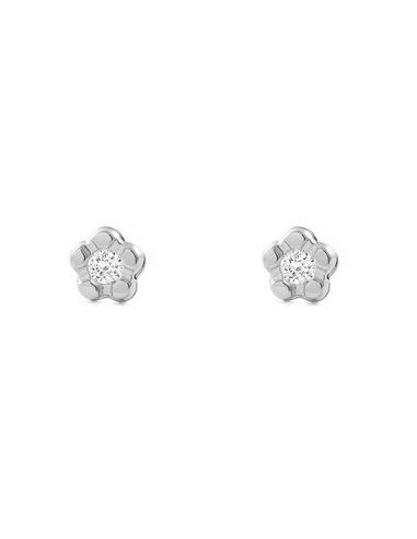 9ct White Gold flower with zirconia children´s Earrings
