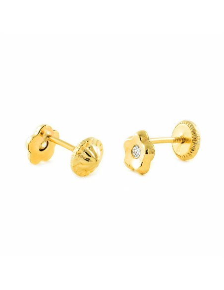 9ct Yellow Gold flower Children's Earrings