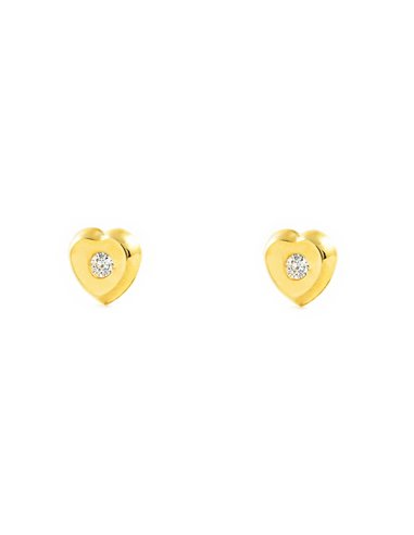 9ct Yellow Gold heart zircon Children's Earrings