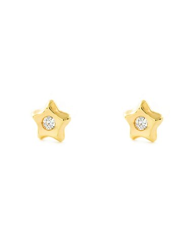 9ct Yellow Gold Children's Star with zircon Earrings