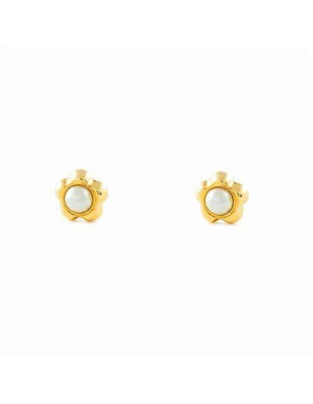 9ct Yellow Gold Daisy flower pearl Earrings