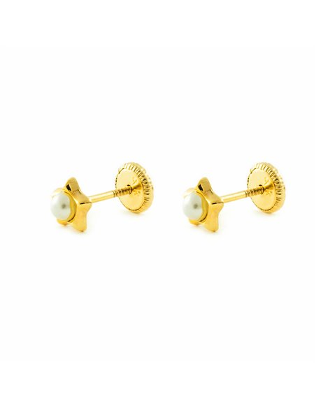 9ct Yellow Gold star with pearl Earrings