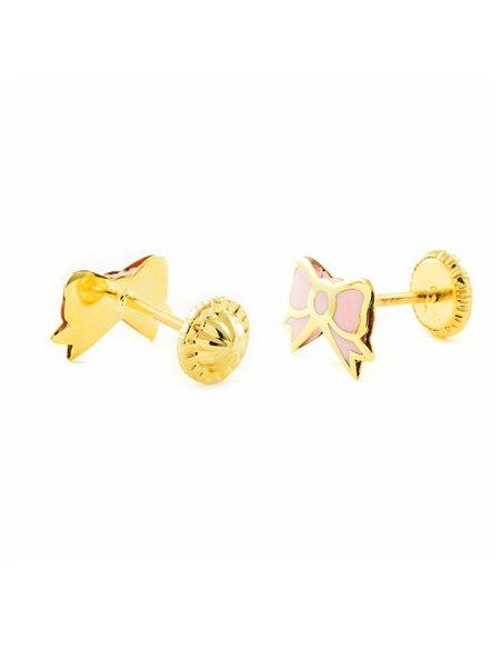 9ct Yellow Gold tie pink enamel Children's Earrings