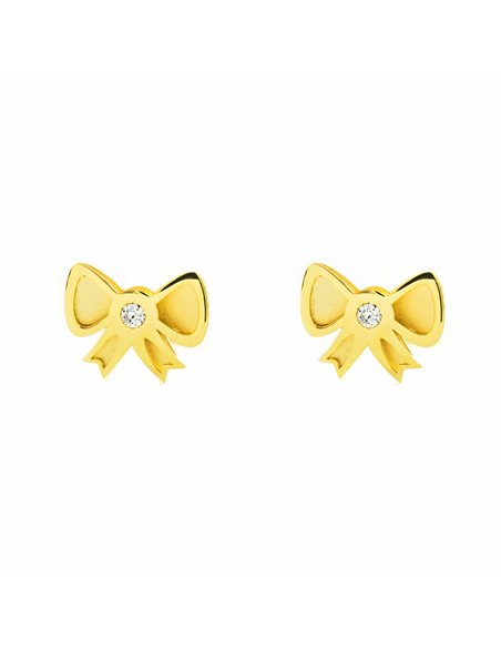 9ct Yellow Gold tie with zircon Children's Earrings