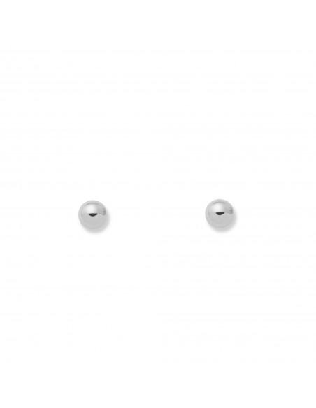 Boucles d'Oreilles Enfant boule lisse 3 mm Or Blanc 18 Carats