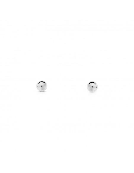 Boucles d'Oreilles Enfant boule lisse 4 mm Or Blanc 18 Carats