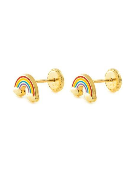 9ct Yellow Gold enamel rainbow Children's Earrings