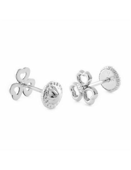 9ct White Gold clover Earrings