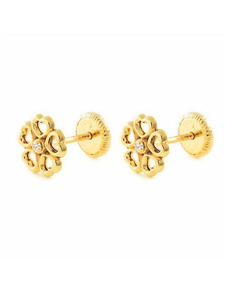 9ct Yellow Gold flower hearts Children's Earrings