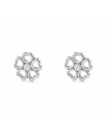 9ct White Gold flower hearts Children's Earrings