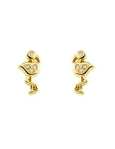 9ct Yellow Gold Flamingowith zircons Children's Earrings
