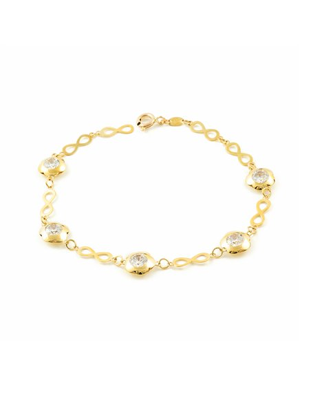 9ct Yellow Gold infinity with daisies Bracelet