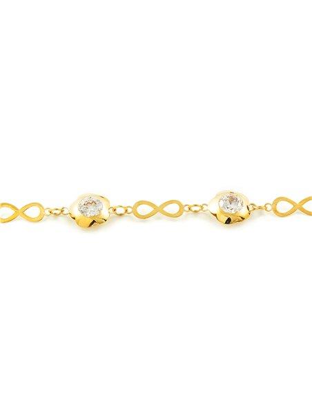 Kinder Unendlichkeit mit Gänseblümchen Armband Gelbgold 9 Karats (375)