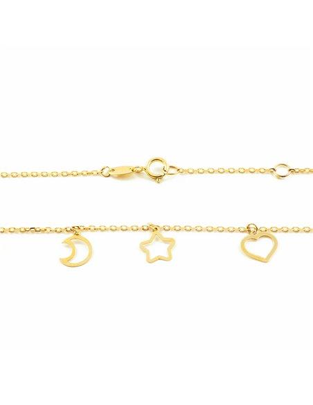 Pendente cuori, stelle e lune - oro giallo 9k (375)