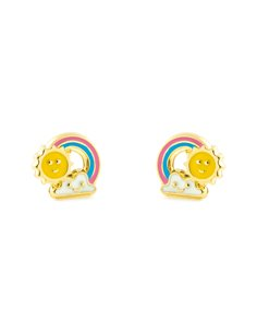 9ct Yellow Gold sun and rainbow enameled Children's Earrings