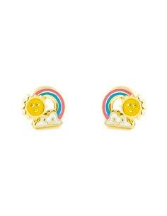 Damen & Kinder Sonne und Regenbogen emailliert Ohrstecker - Gelbgold 9 Karat (375)