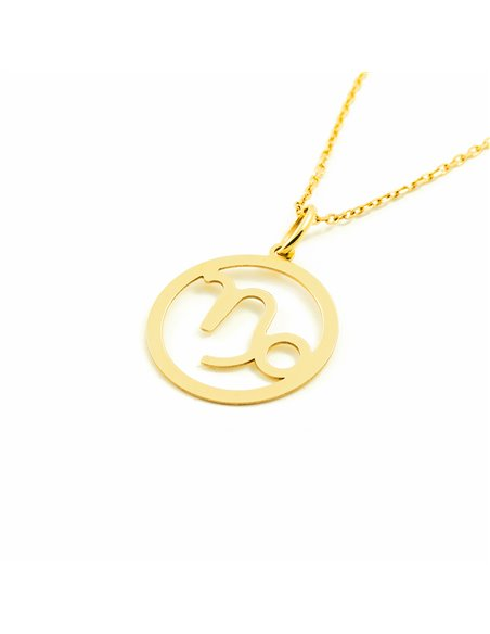 9ct Yellow Gold Capricorn horoscope girl's Pendant