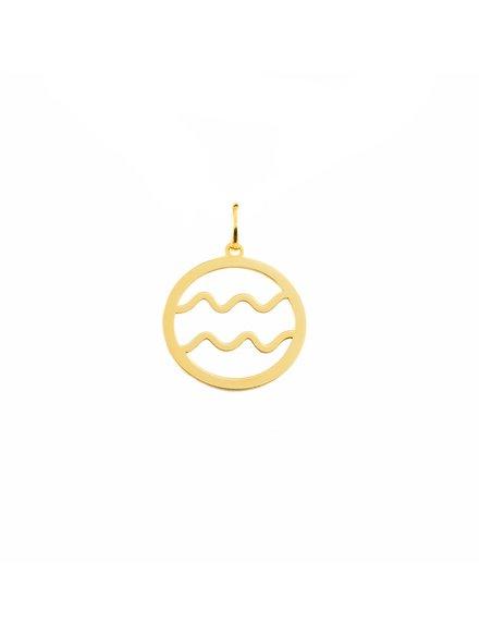 9ct Yellow Gold Aquarius horoscope girl's Pendant