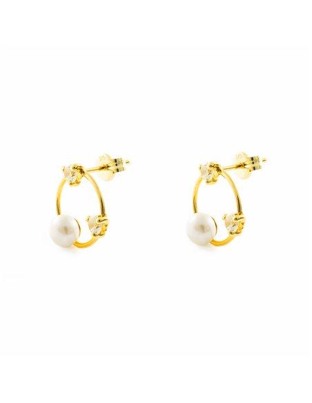 9ct Yellow Gold pearl hoop Earrings