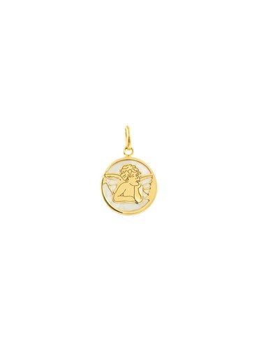 9ct Yellow Gold round Angel Nacre Pendant