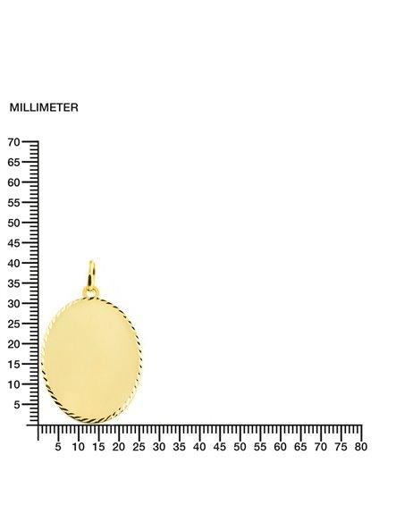 9ct Yellow Gold oval brightness engraving Children's Pendant