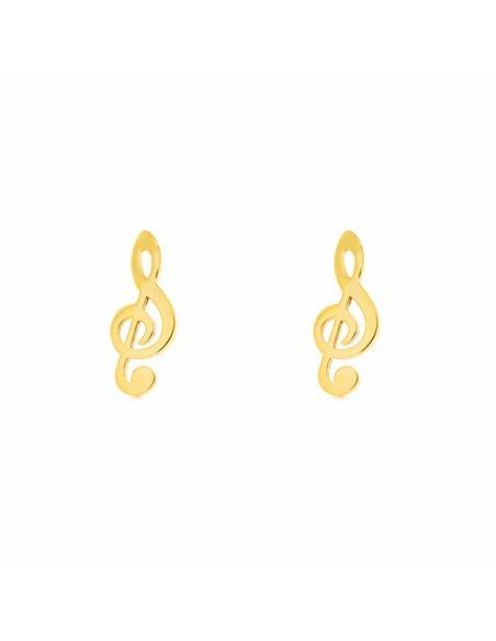 Pendientes Niña Oro Amarillo nota musical