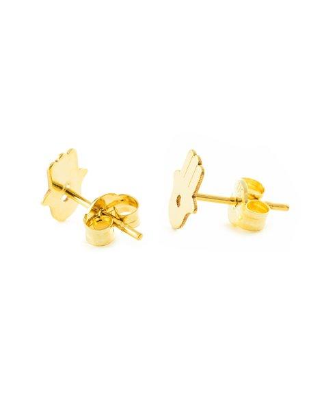 9ct Yellow Gold Fatima Hand Children's Earrings