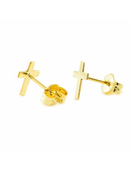 9ct Yellow Gold Children's cross Earrings
