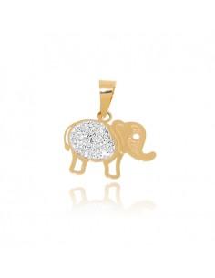Colgante oro 18 kts. Elefante con Circonita