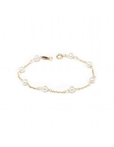 49df60e29381 Pulsera Bebe oro 18 kilates de perlas con cadena